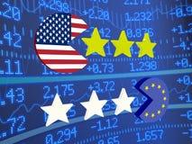 USA EU discs eating stars Stock Photo