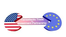 USA EU discs eating TTIP Stock Photo