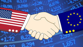 USA EU financial handshake stock wall. Handshake illustration between two diplomats, one with a suit with USA texture, one with the european flag texture in Stock Photo