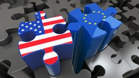 USA and EU flags on puzzle pieces. Political relationship concept. 3D rendering Stock Photos