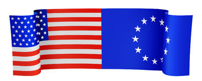 USA and EU. Illustration of the USA and EU flags on white background royalty free illustration