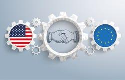 USA EU Partnership Gear Handshake Royalty Free Stock Photos