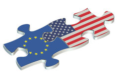 USA and EU puzzles from flags Royalty Free Stock Images