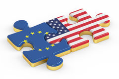 USA and EU puzzles from flags, relation concept. 3D rendering Stock Images