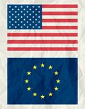Usa and euro flag ,vector royalty free stock photography