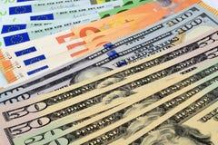USA- & euroanmärkningar Arkivbild