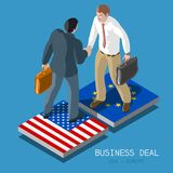 USA Europe Deal People Isometric Stock Photos