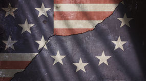 Usa and Europe Flag on Cracked Concrete Wall Stock Photos