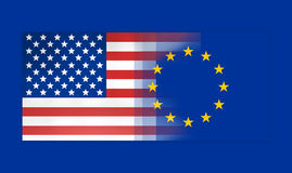 USA and Europe flags background concept Royalty Free Stock Photo