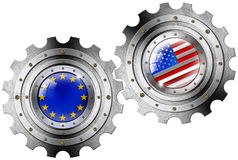 USA and Europe Flags on a Gears Stock Photos