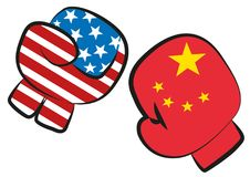 USA Europe trade war confict illustrated by a boxing match with USA and Europe flags in boxing gloves fighting each other, isolate. USA China trade war conflict vector illustration