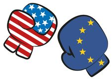 USA Europe trade war confict illustrated by a boxing match with USA and Europe flags in boxing gloves fighting each other, isolate. USA Europe trade war confict royalty free illustration