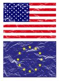 Usa and european flag, vector Royalty Free Stock Photos