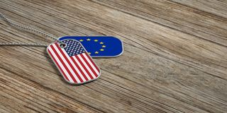USA and EU military relations, Identification tags on wooden background. 3d illustration. USA and European Union military relations, Identification dog tags on Stock Image