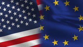 Usa and European Union Realistic Half Flags Together vector illustration