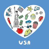 USA färgade den färgrika samlingen för klotter stock illustrationer