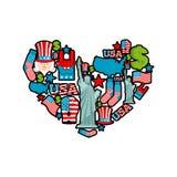 USA förälskelse Teckenhjärta av det traditionella folk teckenet för Förenta staterna Arkivfoto