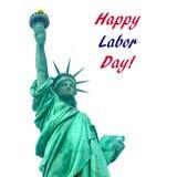 USA för arbets- dag bakgrund med statyn av frihet arkivbilder