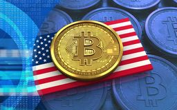 USA för bitcoin 3d flagga royaltyfri illustrationer