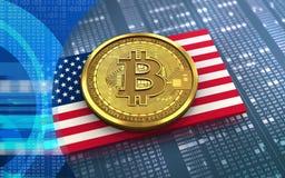 USA för bitcoin 3d flagga Arkivfoton