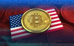 USA för bitcoin 3d flagga Royaltyfria Foton