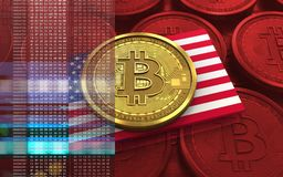 USA för bitcoin 3d flagga vektor illustrationer