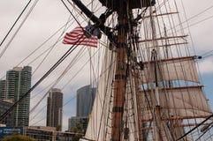 USA Förenta staterna, Amerika, Kalifornien, San Diego, stad, maritimt museum, segelbåt, royaltyfria bilder