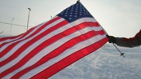 USA fahnenschwenkend im Wind, in hohem Grade ausführliche Gewebebeschaffenheit stock footage