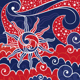 Usa fairytale sky with stars royalty free illustration