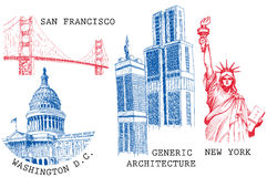 USA famous cities stock illustration