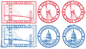 USA famous cities stamps Royalty Free Stock Photography