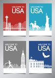 USA famous landmark and symbol in silhouette style with national flag color theme brochure set vector illustration