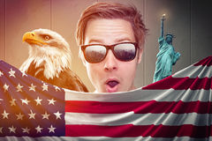 USA Fanboy. Behind the american flag Stock Photography