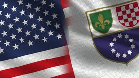Usa and Federation of Bosnia and Herzegovina Realistic Half Flags Together. Texture High Details stock image