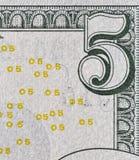 USA fem dollar räkninghörn, closeup Royaltyfri Fotografi