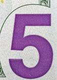 USA fem dollar räkninghörn, closeup Arkivfoton