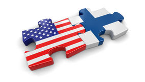 USA and Finland puzzle from flags. Image with clipping path Royalty Free Stock Images