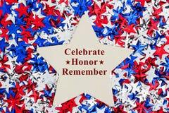 USA firar det patriotiska meddelandet heder minns royaltyfri fotografi