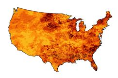 USA Fire Map. An outline silhouette map of The United States of America flames heat and fire over a white background Royalty Free Stock Photography