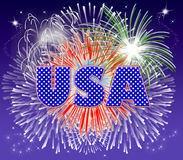 USA Fireworks. Typography illustration of USA with fireworks exploding behind Stock Images