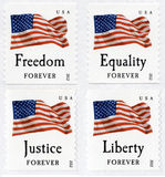 USA First Class Forever Flag Stamps Royalty Free Stock Photography