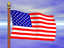 USA FLAG. United States Flag on Horizon Background stock illustration
