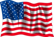 USA flag. USA wavy flag with additional format isolated on white background
