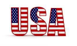 USA flag. USA text with the US flag isolated on white Stock Photography