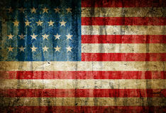 USA flag. Dirty USA flag painted on old wall Royalty Free Stock Photography