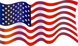 USA flag. Wavey flag of the United States of America isolated on white Stock Image
