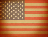USA flag. On the rusty paper stock photo