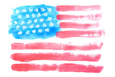USA Flag. Painted with watercolor on white Royalty Free Stock Photography