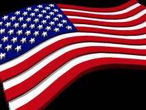 USA flag. 3d USA flag, flying on black background stock illustration