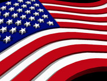 USA flag. 3d USA flag, close up on black background stock illustration
